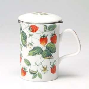 taza para el té con filtro fresas